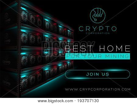 Detailed Vector Illustration of Bitcoin Mining Farm in Dark Room. Rack of Glowing Mining Computers. Banner for Cryptocurrency Market Article Advertising. Bitcoin Ethereum Litecoin.