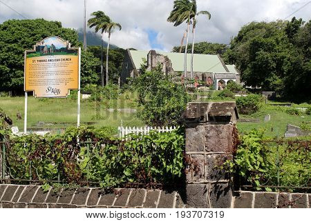 Stone Church in a tropical setting on the island of St. Kitts