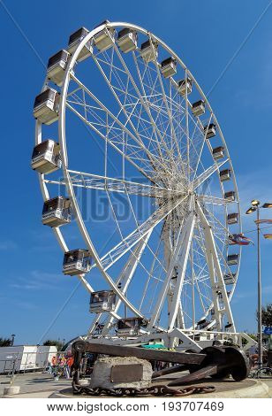 Rimini Italy - June 21 2017: Beautiful Ferris wheel on the beach of Rimini Italy