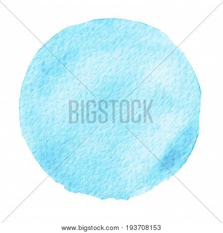 Watercolor Abstract Blue Marina Circle Isolated On White Background.