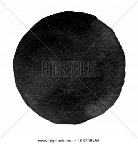 Black Watercolor Circle. Watercolour Stain On White Background.