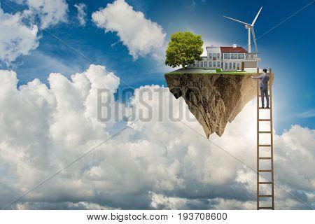Man escaping to green environment