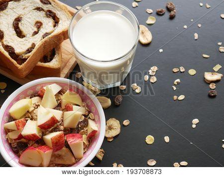 Healthy foodfresh milkraisin breadfruit and multi dry fruit-serial