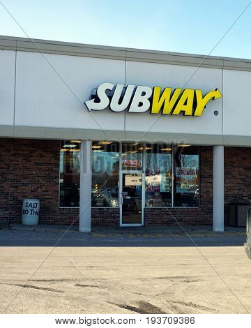 BAY VIEW, MICHIGAN / UNITED STATES - NOVEMBER 26, 2016: One may eat sandwiches at the Subway restaurant, in a Bay View strip mall.