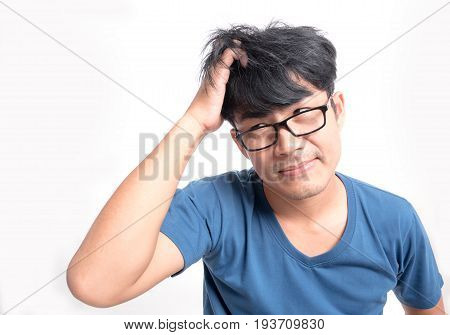 Men have itchy scalp fungus on white background