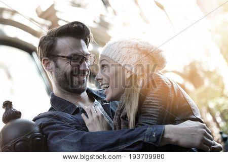 Trendy in love couple enjoying walk in Greenwich village