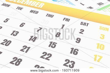 3D Close Up Of December Calendar