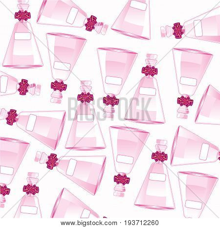 The Glass vial decorative with bow.Vector illustration