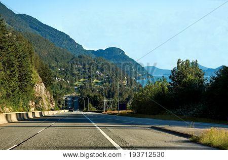 Sea to Sky Highway passes through the Stawamus Chief Provincial Park