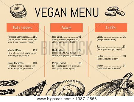 Vegan cafe menu identity typographic design with asparagus, beans, pumpkin, peas vegetable sketches. Vegetarian restaurant price catalog, healthy and natural farm food card vector illustration.