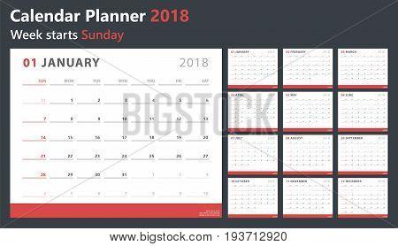 calendar planner for 2018 starts sunday, vector calendar design 2018 year