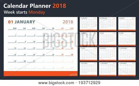 2018 year calendar, calendar design 2018 starts monday