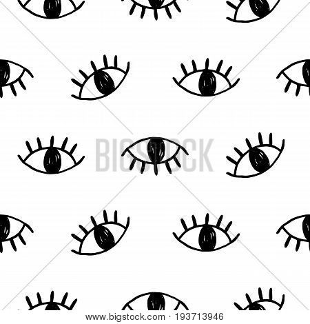 Hand drawn open eyes doodles seamless pattern. Modern website backdrop, wallpaper, textile print design. Minimal scandinavian style, vector illustration