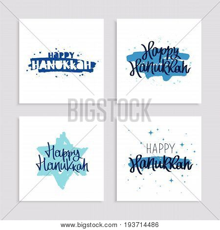 Set of holiday gift cards to Happy Hanukkah. Vector illustration. Blue star of David from brush strokes. Lettering and calligraphy.