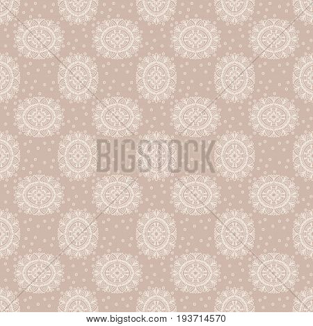 Abstract background. Vector illustration. Ethnic mandala nude seamless pattern. Indian ornament