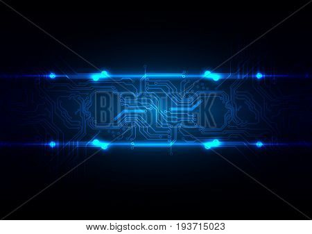 abstract technology circuit with blue light background.illustration vector design