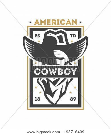 American cowboy vintage isolated label. American rodeo event badge, authentic cowboy show symbol vector illustration.