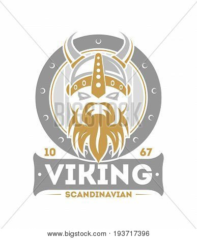 Viking warrior isolated label with horned helmet. Scandinavian viking badge, medieval barbarian emblem, nordic culture vector illustration.
