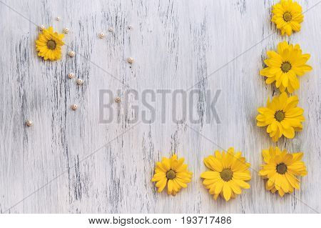 Wooden surface painted white with yellow flowers and beads of pearls. Beautiful background with chrysanthemums. Yellow flowers on wooden background.