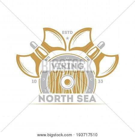 Viking north sea vintage isolated label with warrior ax. Scandinavian viking badge, medieval barbarian emblem, nordic culture vector illustration.