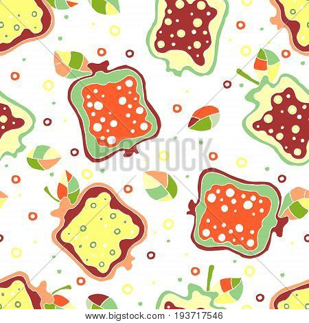 Seamless Vector Hand Drawn Childish Pattern, Border With Fruits. Cute Childlike Pomegranate With Lea