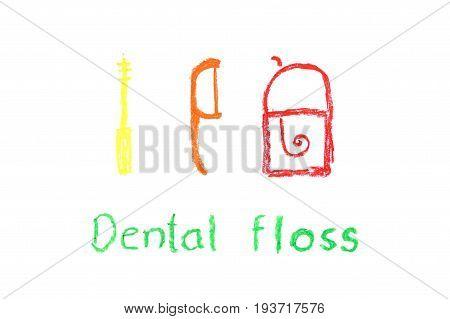 tooth cartoon crayon drawing - dental floss