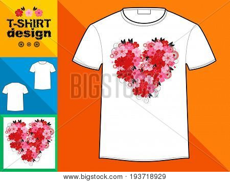 Template T-shirt with an trendy design: Heart made of colorful flowers.