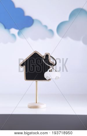 key ring  with house and car shape