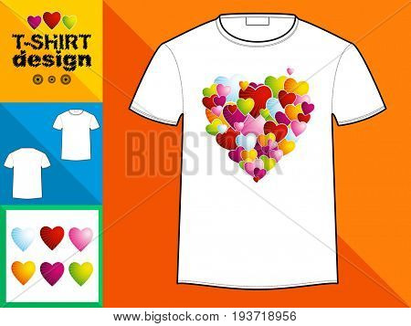Template T-shirt with an trendy design: Heart made of colorful rays.