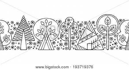 Vector Hand Drawn Seamless Border, Pattern, Decorative Stylized Black And White Childish Trees. Dood