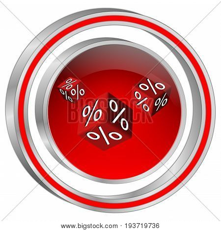 decorative silver red Discount button - 3D illustration