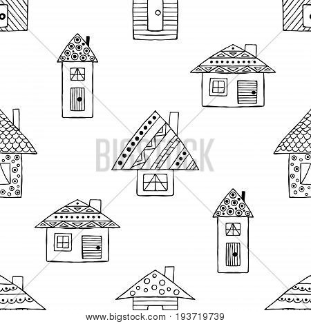 Vector Hand Drawn Seamless Pattern, Decorative Stylized Black And White Childish House. Doodle Sketc