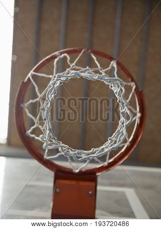 Basketball hoop low angle