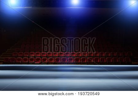Theater hall from the stage point of view with lights on