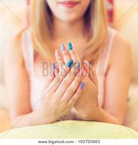 Beautiful Fingernail Manicure Acrylic Nail Polish Of Woman Beauty Fashion