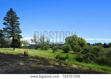 KALISPELL, MONTANA, USA - June 21, 2017: Two firefighters survey the scene of a grass fire