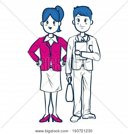 business man and woman standing partners cartoon vector illustration