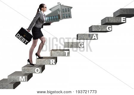 Businesswoman in mortgage debt financing concept