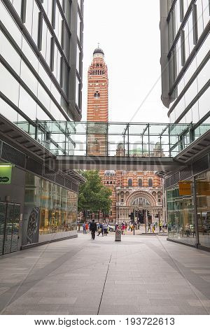 LONDON UNITED KINGDOM - JUNE 22 2017: Westminster Cathedral Catholic Church neo-Byzantine style and modern office buildings. It is the largest Catholic church in England and Wales and the seat of the Archbishop of Westminster.