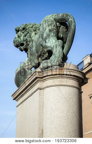 Bronze Statue Of The Lion At Royal Palace