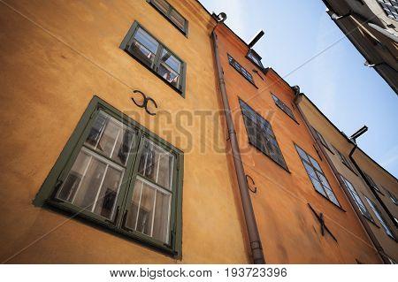 Old Yellow Living House Facade. Gamla Stan