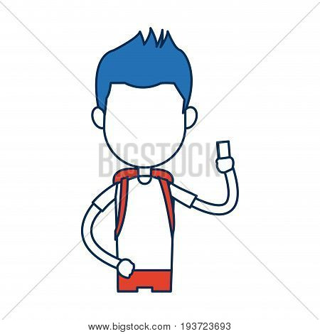 teenager boy student cartoon in blue and orange image vector illustration