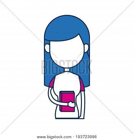 teenager girl school people cartoon in blue and fuchsia image vector illustration