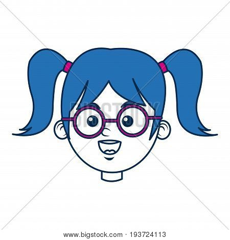 cute girl wear glasses with ponytails blue hair vector illustration