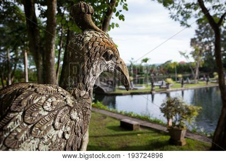 Stone sculpture bird of the Temple in Bali Tirta Gangga, Indonesia