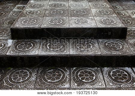 Stone steps with traditional pattern of the Temple in Bali Tirta Gangga, Indonesia