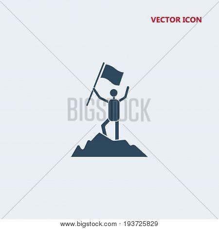 achievement of man on mountain top Icon, achievement of man on mountain top Icon Eps10, achievement of man on mountain top Icon Vector, achievement of man on mountain top Icon Eps