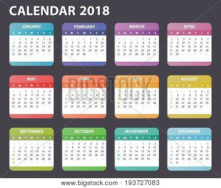 2018 year calendar, calendar design 2018 starts sunday