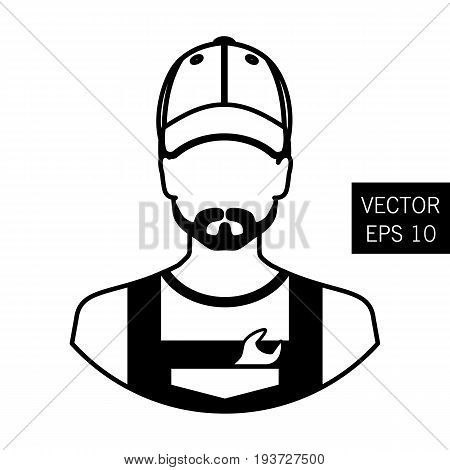 Icon cars. Repair avatar man. Thick outline. A man in working clothes repairs the car. Stock vector.