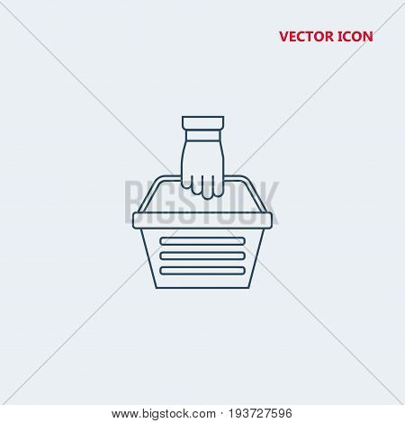 hand holding shopping basket Icon, hand holding shopping basket Icon Eps10, hand holding shopping basket Icon Vector, hand holding shopping basket Icon Eps